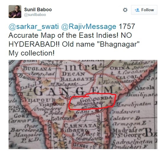 Bhagyanagar Map tweet