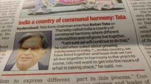 Ratan Tata on Communal Harmony